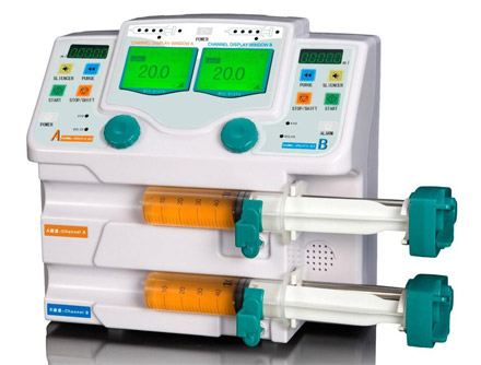 Dual Channel Syringe Pump With Drug Library