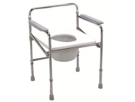 Folding Steel Commode Chair With Plastic Armrests